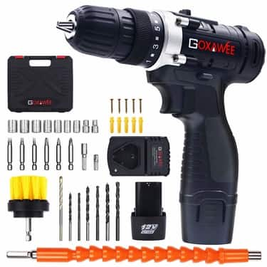 Cordless Drill with 2 batteries-GOXAWEE Electric Screw Driver
